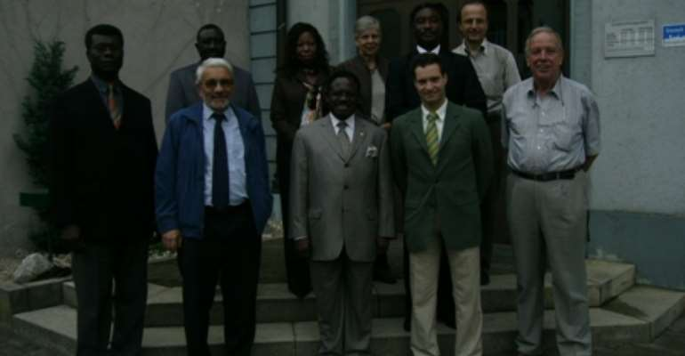 His Excellency Ambassador Kwabena Baah-Duodu (middle of front row) seen here after the tour of the Local Council Hall. On his immediate right is Mr. Martin Leber, Vice-President of the Local Administration.